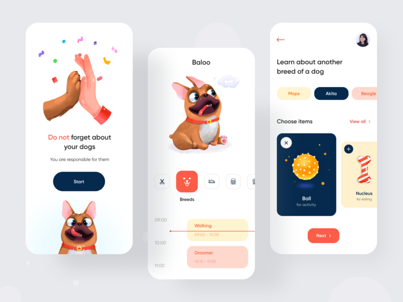Baloo App For Dogs calendar shedule shop pets dogs mobile app ux design mobile landing app minimal ui illustration clean