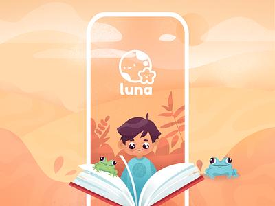 Luna Books project product reader drawing fun character books kids splash screen background icon vector branding logo design mobile app mobile app illustration clean