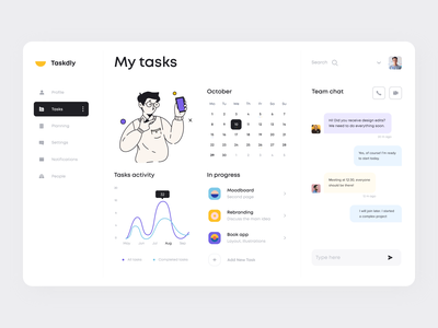 Task Management Dashboard planning team task interface profile menu graph calendar app manage chat calendar ux vector logo design dashboard app ui illustration clean