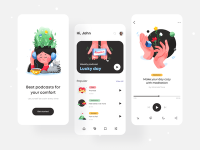 Podcasts App interface art podcast profile playlist list splashscreen splash navigation player design color illustrations mobile app mobile app minimal ui illustration clean