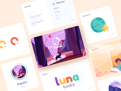 Luna Books Branding art brand identity brand colors books mobile app ui app icon typography design vector branding illustration clean