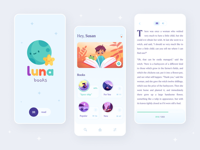 Luna Books App brand interface menubar category books book menu splash audiobook icon logo ux design mobile app mobile app ui illustration clean reader