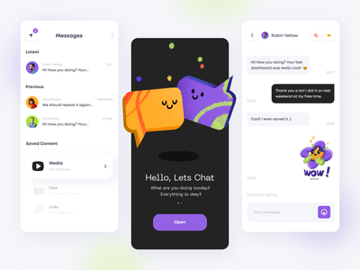 Messenger App onboarding splash files media messenger message stickers talk chat logo design color illustrations mobile app mobile app minimal ui illustration clean