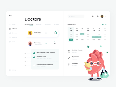 Medical Dashboard manager character reminder calendar list overview scheduler doctor interface clinic medical app ux vector design dashboard minimal ui illustration clean