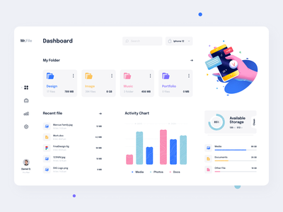 Files Management Dashboard analitycs charts storage app file manager files dashboard app dashboad branding minimal illustration clean
