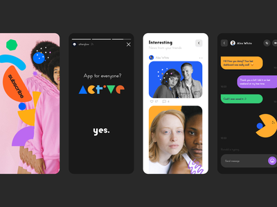 Active Social App brand identity branding people media tech digital social app social activity active ux mobile app mobile app minimal ui illustration clean
