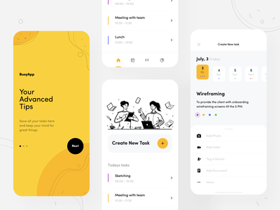 Busy App task ux planning managment yellow color design mobile app mobile afterglow app ui minimal illustration clean