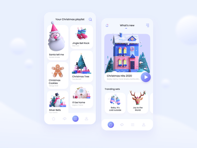 Christmas Music App holiday santa snow presents new years eve cookie new year song player christmas color design mobile app mobile afterglow app minimal ui illustration clean