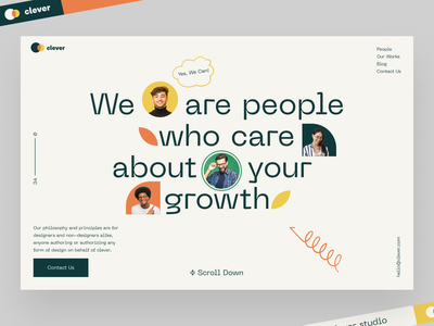 Clever studio company social network social typogaphy ux logo illustrations design branding website landing afterglow minimal ui