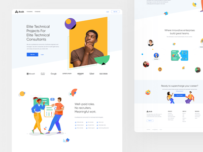 Arch community projects techinal afterglow people community logo illustrations ux ui mobile landing website minimal illustration clean