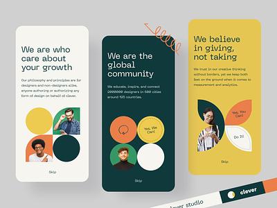 Clever App global designer social media social network social community typography color logo mobile app mobile afterglow app minimal ui illustration clean