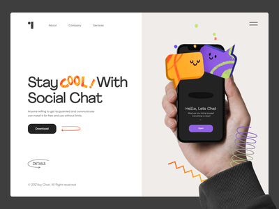 Social Chat social media social network connection social chat typography ux logo landing mobile afterglow app minimal ui illustration clean