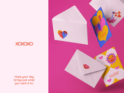 Valentine's cards identity kiss love gifs valentines card valentine day valentine clean branding design afterglow illustration