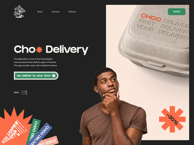 Choo Delivery service app food app delivery app food delivery website mobile app landing mobile afterglow app minimal ui illustration clean