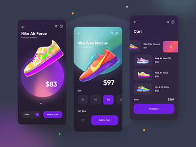 Sneakers App sneaker illustration ecommerce shop ecommerce app order 3d ecommerce sneakers clean design mobile app mobile afterglow app ui illustration