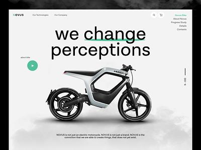 Novus Homepage Concept motorcycle electro novus concept design motorbike bike landing minimal clean