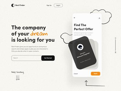Best Finder App social network job offer social company typography ux mobile app landing mobile afterglow app minimal ui illustration clean