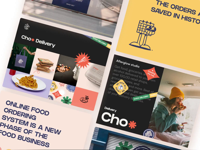 Choo Delivery Showreel social food delivery service delivery service food delivery food app delivery presentation video showreel logo ux design mobile afterglow app minimal ui illustration clean