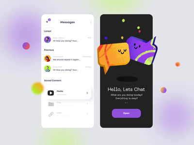 Messenger App #2 sticker design stickers social chat app chat animation design animation animated illustrations ux mobile app mobile afterglow app minimal ui illustration clean