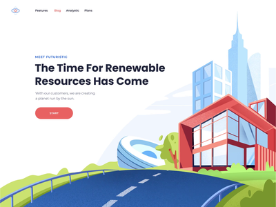 Solar Energy Landing Page homepage technology solar energy solar system website landing illustration clean