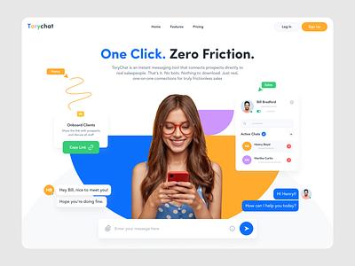 Chat App Landing Page branding graphics colors communication chat app chat website concept website design landing minimal clean