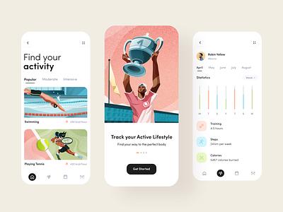 Activity Tracker App track statistic app statistics minimal ui clean illustration app app design mobile app sport app health activity tracker activity app