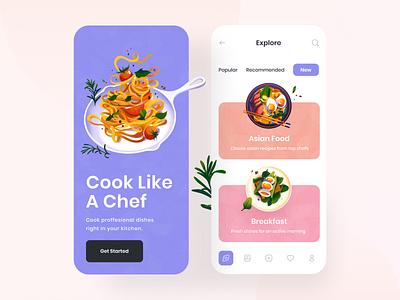 Food Mobile App mobile app kitchen cooking cook mobile app clean illustration delivery food app food