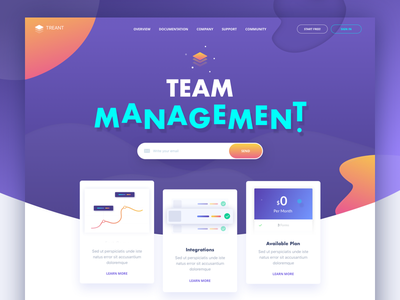 Treant - Homepage waves colorful management website landing