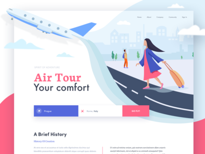 Airlines - Landing page afterglow plane trip travel luggage airport airlines ui girl illustrations air hiwow waves colorful website landing