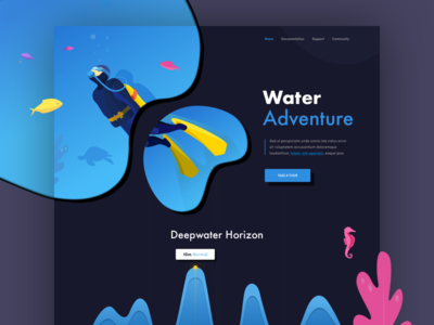 Diving Home Page ocean diver landing website sea ui illustrations diving hiwow