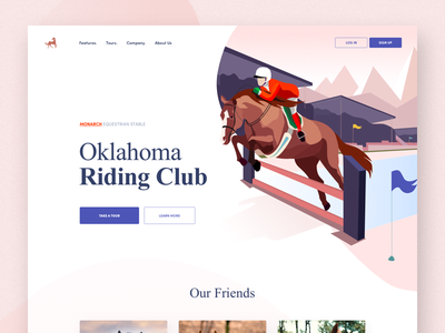 Oklahoma Riding Club afterglow stable equestrian horses web illustrations ui ride landing website horse
