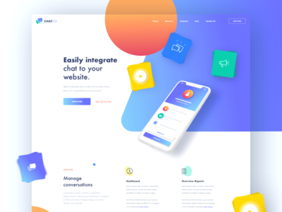 Chatics minimal chat bot clean landing ui homepage colorful geometric chat chat app afterglow