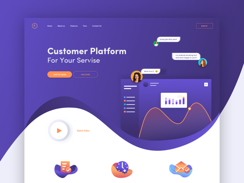 Fratsy service customers color colorful waves afterglow ui landing