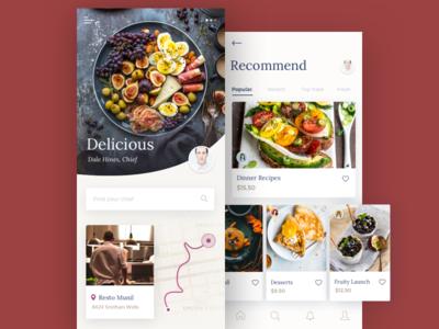 Food App cooking app cooking food  drink delicious chef restaurant app restaraunt cooker cookbook eat cook food app ui afterglow app food