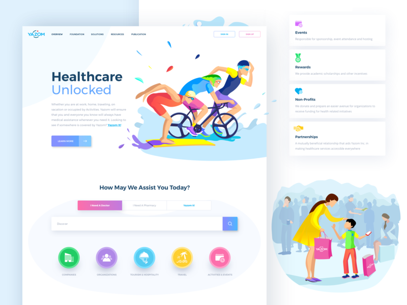 Yazom Site medicine afterglow website insurance health colorful illustration clean ui landing