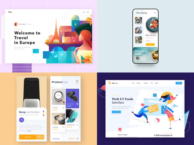 Our Top 4 top 4 trands minimal color illustration website clean landing app