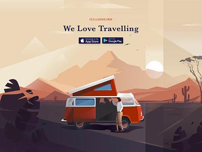 Travel App Homepage vr travel app nature mountain sunrise van clean traveller travel illustration ui afterglow