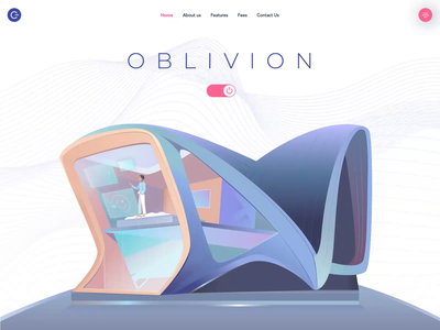 Oblivion Homepage system automatic interaction design homepage smarthome smart future animation afterglow waves minimal illustration clean landing