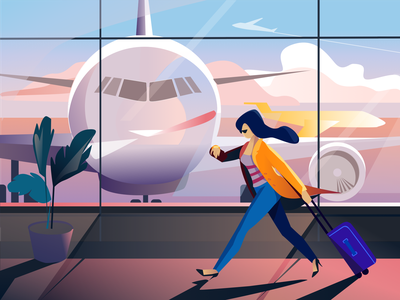 Airport illustration travelling trip tour baggage airplanes terminal plane passenger inspiration air girl vector color illustration afterglow airport