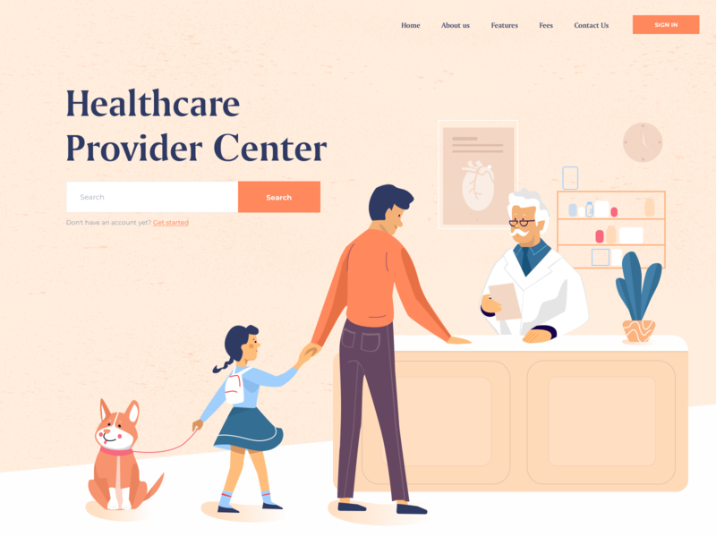 Healthcare Provider Center - Landing page medicines treatment hospital medical app doctor app clinic illustration minimal afterglow landing clean medicine doctor health center health care health app health