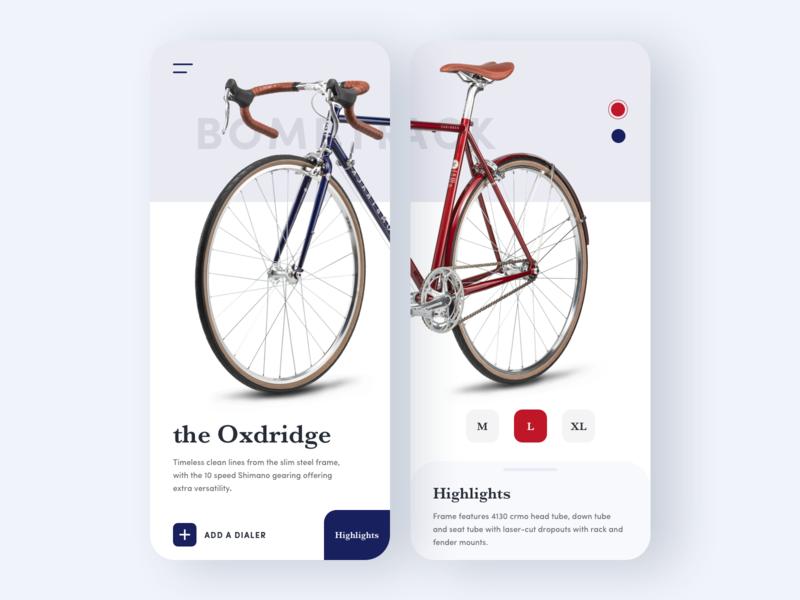 Bike Description Page bicycle shop bicycle eccomerce bicycle app product description bike app bike app store app minimal clean ui
