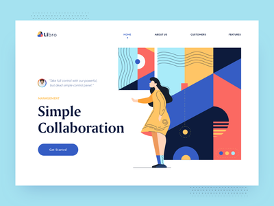 Libro Homepage illustrations patterns tool communication agency communication waves colorful pattern features collaboration color minimal illustration clean afterglow