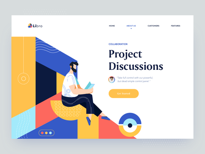 Libro - About Us page minimal about us page about page colorful geometric management app project management tool collaboration clean website illustration afterglow