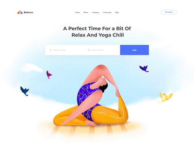 Balance Yoga Studio asana yoga mat levitation workout trainer agency web corporate business chilling woman relax healthy lifestyle fitness illustration yoga studio sport health yoga landing ui clean afterglow