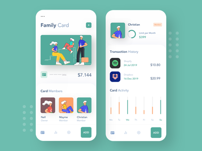 Family Credit Card money app wallet app wallet transactions money banking payment app dashboard app bank account credit card afterglow ui clean bank app