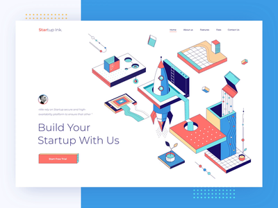StartUp Ink. Landing page management business illustration system isometric collaboration startup build pattern colorful color minimal landing afterglow clean