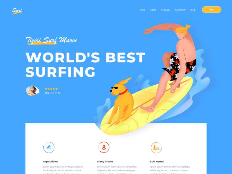 Landing Page - Surf landing ui surfing surf traveling travel agency dog surfers surfer illustration waves bali travel agent trip agency website