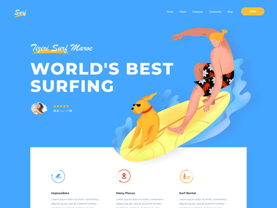 Landing Page - Surf landing ui surfing surf traveling travel agency dog surfers surfer illustration waves bali travel agent trip agency website