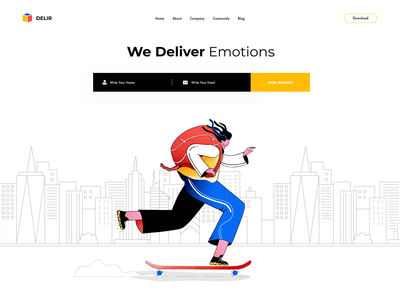 Delir Homepage contrast urban afterglow colors delivery homepage skater web design animation illustration clean