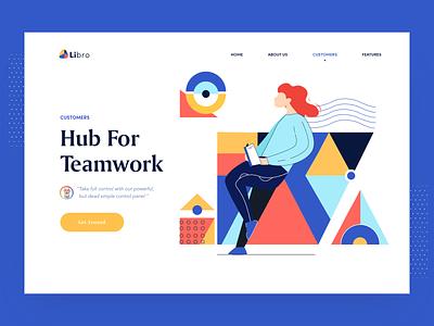 Libro Customers management teamwork illustration homepage pattern webdesign ui clean